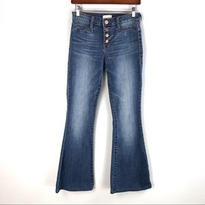 Sun & Shadow | Buttonfly Distressed Flare Jeans